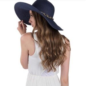 Accessories - LAST ONE!! Navy Soft Floppy Hat with Chain Accent